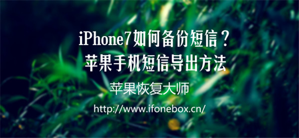 iPhone 7如何备份短信